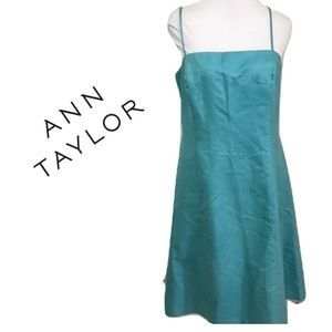 Ann Taylor 10 Sundress Solid Blue Fit Flare Midi